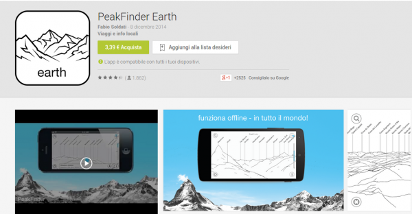 PeakFinder Earth   App Android su Google Play
