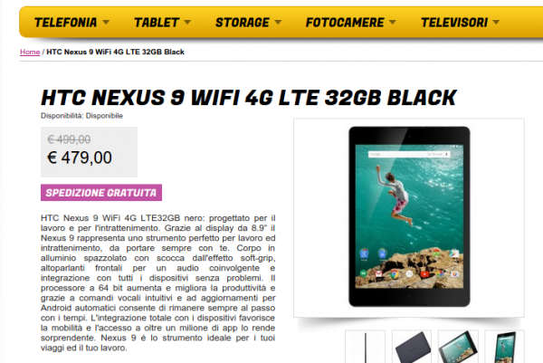 HTC Nexus 9 WiFi 4G LTE 32GB Black   Gli Stockisti  Smartphone  cellulari  tablet  accessori telefonia  dual sim e tanto altro