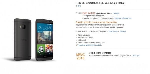 HTC One M9 Amazon Italia
