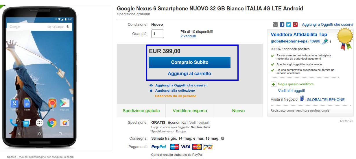 Nexus 6 a 399 euro con garanzia italiana su eBay