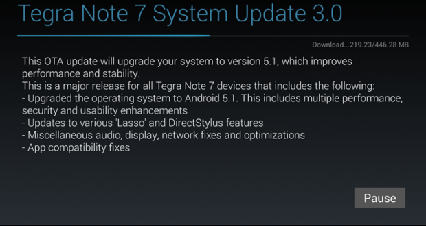 Nvidia Tegra Note 7 Android 5.1 Lollipop
