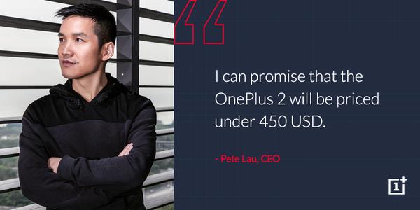 OnePlus 2 costo inferiore 450 dollari