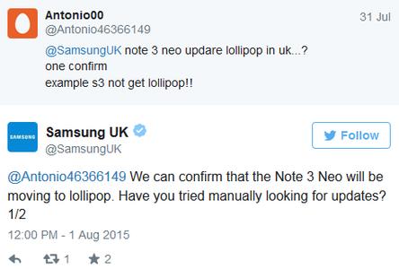 Samsung Galaxy Note 3 Neo Lollipop