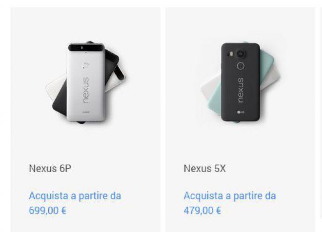 Nexus 5X e Nexus 6P prezzi italiani