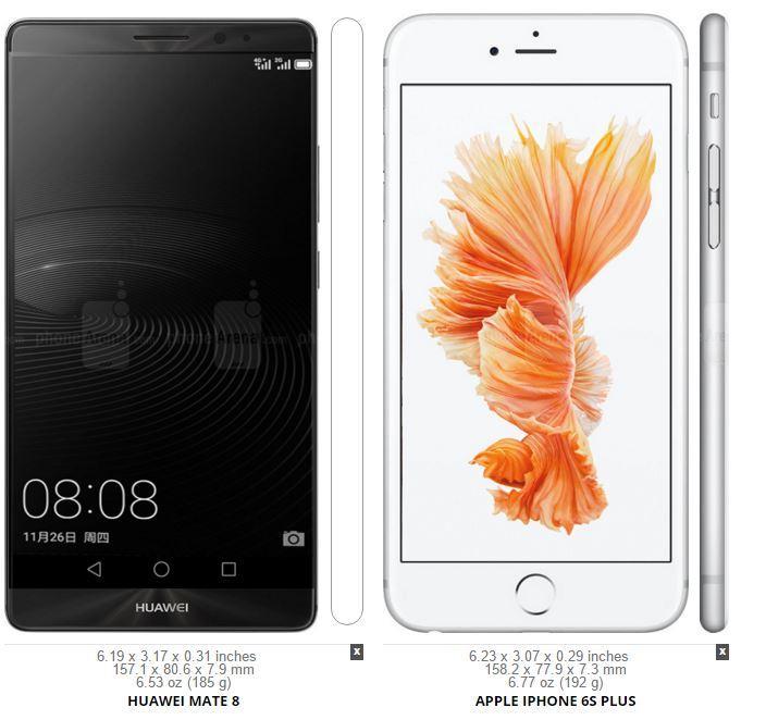 Huawei Mate 8 vs iPhone 6s Plus