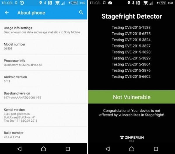 Sony Xperia Z2 fix Stagefright