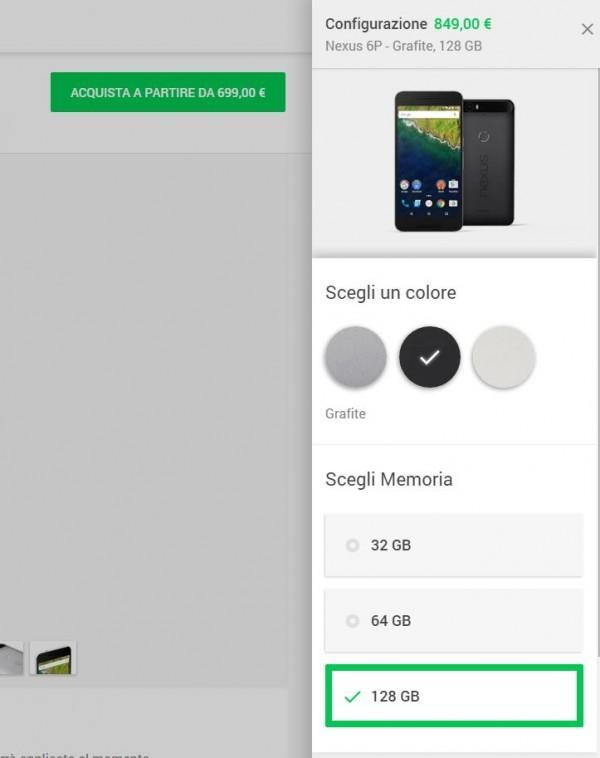 Nexus 6P 128 GB Google Store