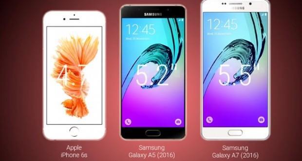 Samsung Galaxy A7 (2016) vs Galaxy A5 (2016) vs Apple iPhone 6s