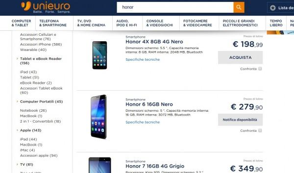 Search honor  negozio elettronica online Unieuro 2