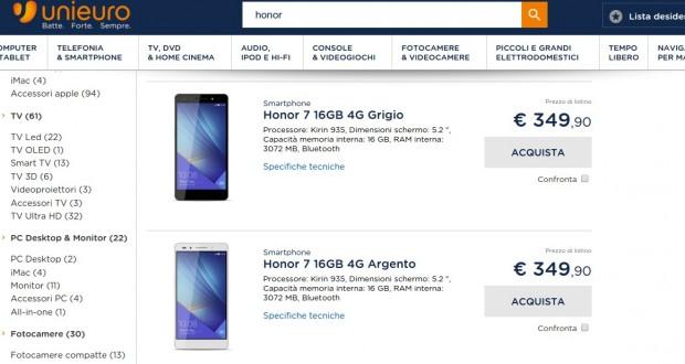 Search honor  negozio elettronica online Unieuro