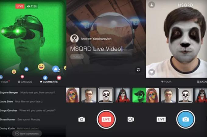 Facebook Live integrazione MSQRD