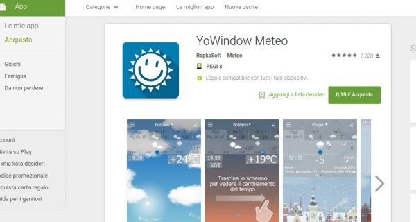 YoWindow Meteo   App Android su Google Play