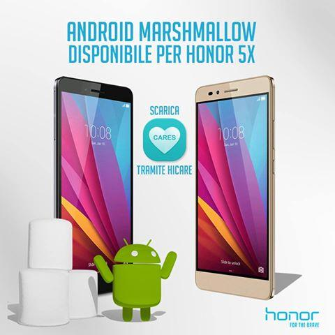 Honor 5X riceve ufficialmente Android 6.0 Marshmallow anche in Italia