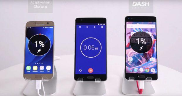 OnePlus 3 vs Samsung Galaxy S7 ricarica rapida