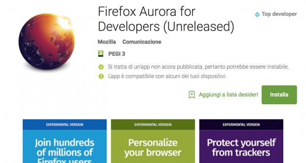 Firefox Aurora Play Store