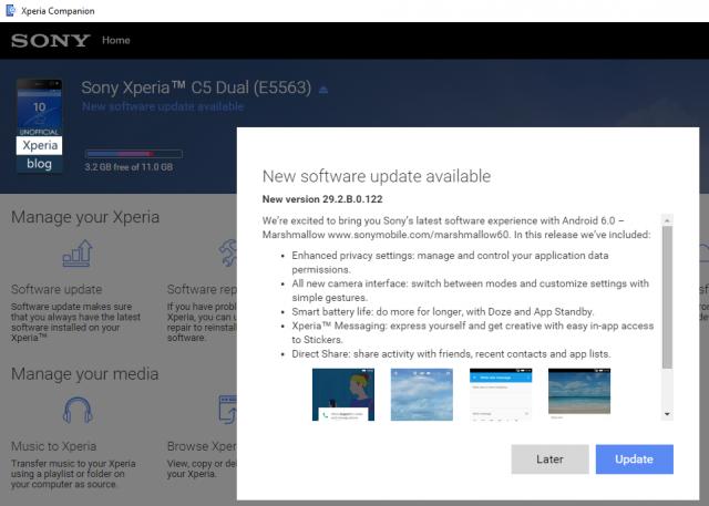 Sony Xperia C5 Ultra Android 6.0 Marshmallow