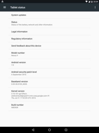 Nexus 9 LTE Android 7.0 Nougat