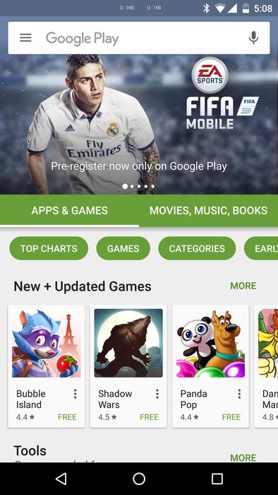 Play Store novità UI