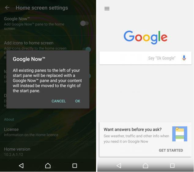 Sony Xperia Home Beta Google Now