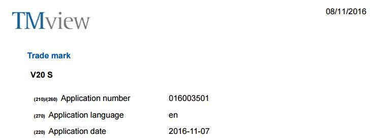 LG V20 S marchio registrato