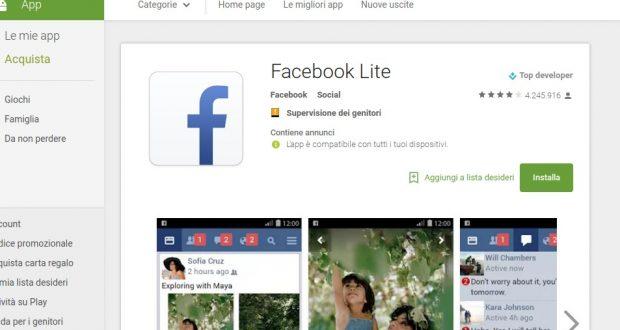 Facebook Lite sbarca in Italia: download disponibile dal Play Store