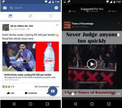 Facebook tasto flottante video