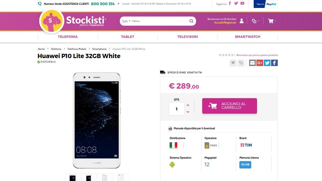 huawei p10 lite in offerta a 289 euro su glistockisti it