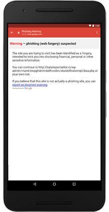 Gmail per Android avviso phishing