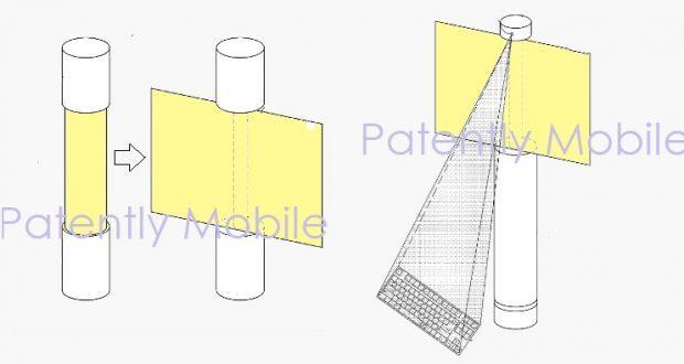 Samsung brevetta un smartphone flessibile cilindrico con videocamera a 360° e proiettore