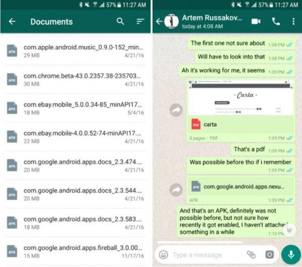 WhatsApp invio file