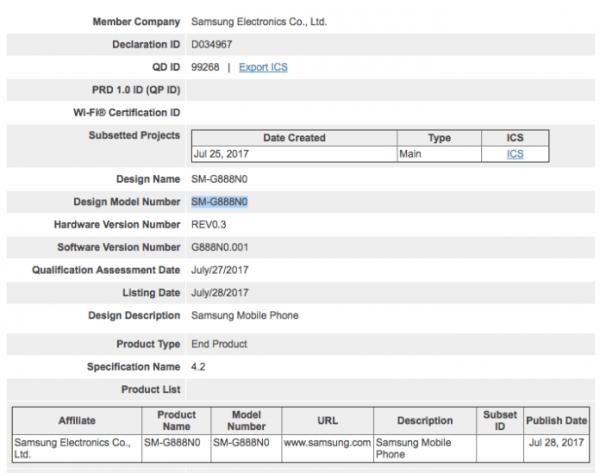 Samsung Galaxy X certificazione Bluetooth SIG