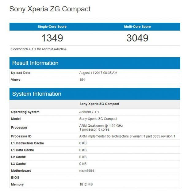 Sony Xperia ZG Compact Geekbench