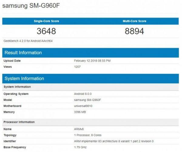 Samsung Galaxy S9 Exynos 9810 Geekbench