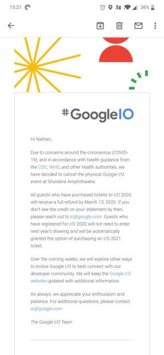 Google IO 2020 rinviato