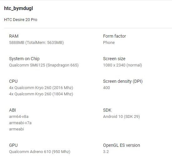 HTC Desire 20 Pro Google Play Console