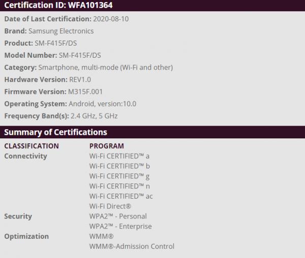 Samsung smartphone flessibile fascia media certificazione WiFi