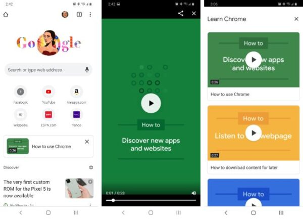 Google Chrome per Android video tutorial