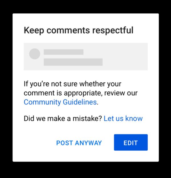 YouTube prevenzione odio commenti