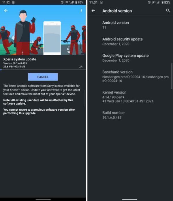 Sony Xperia 10 II aggiornamento Android 11