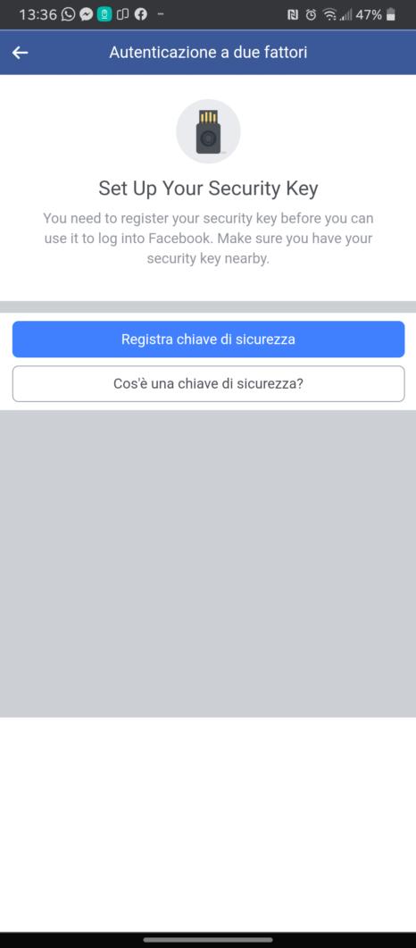 Facebook Yubikey 2FA