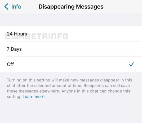 WhatsApp messaggi effimeri 24 ore