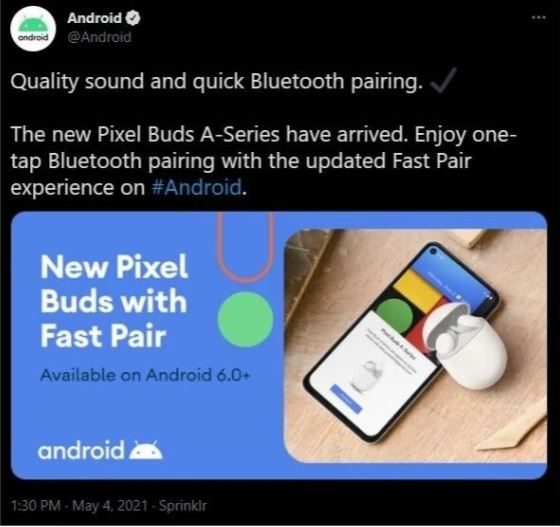 Android Twitter conferma ufficiale Pixel Buds A