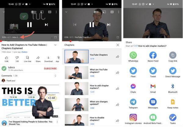 YouTube per Android condivisione capitoli