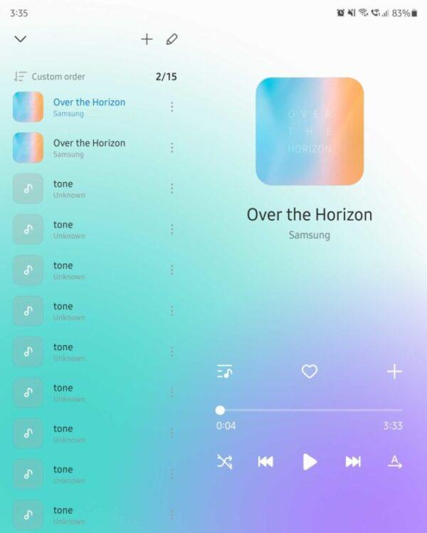 Samsung Music nuova UI adattata tablet e schermi flessibili